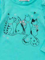 Miętowa bluzka dla dziewczynki z nadrukiem                                  zdj.                                  2