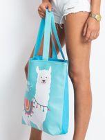 Miętowo-niebieska torba z nadrukiem                                  zdj.                                  6