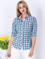 Miętowo-różowa koszula w kratkę                                  zdj.                                  1
