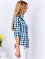 Miętowo-różowa koszula w kratkę                                  zdj.                                  3