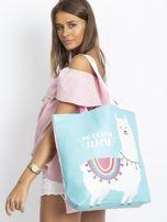 Miętowo-różowa torba z nadrukiem                                  zdj.                                  8