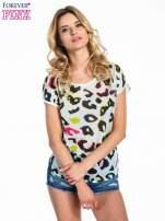 Miętowy panterkowy t-shirt z koronkowym tyłem