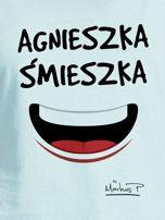 Miętowy t-shirt damski AGNIESZKA ŚMIESZKA by Markus P                                  zdj.                                  2