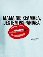 Miętowy t-shirt damski JESTEM WSPANIAŁA by Markus P                                  zdj.                                  2