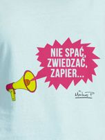 Miętowy t-shirt damski NIE SPAĆ, ZWIEDZAĆ by Markus P                                  zdj.                                  2