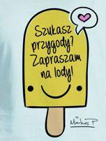 Miętowy t-shirt damski SZUKASZ PRZYGODY? by Markus P                                  zdj.                                  2