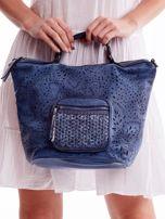Niebieska ażurowa torba z plecioną kieszonką                                  zdj.                                  2