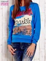 Niebieska bluza z napisem GLITTER SPARKLE SHINE                                                                          zdj.                                                                         1