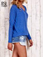 Niebieska bluzka basic z dekoltem w serek                                                                          zdj.                                                                         3