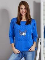 Niebieska bluza z motywem motyli                                  zdj.                                  1