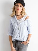 Niebieska damska koszula w paski                                  zdj.                                  1