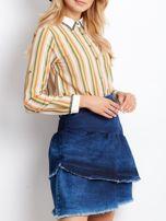 Niebieska denimowa spódnica z warstwowymi falbanami                                  zdj.                                  6