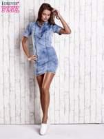 Niebieska denimowa sukienka z dekoltem na guziki                                  zdj.                                  2