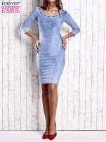 Niebieska denimowa sukienka z dekoltem w łódkę                                  zdj.                                  5