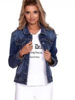 Niebieska jeansowa kurtka z kołnierzykiem PLUS SIZE                                  zdj.                                  1