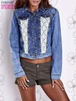 Niebieska jeansowa kurtka z koronkowymi wstawkami                                  zdj.                                  1