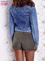 Niebieska jeansowa kurtka z koronkowymi wstawkami                                  zdj.                                  2