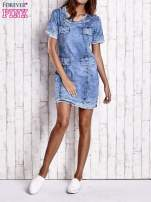 Niebieska jeansowa sukienka z surowym wykończeniem                                  zdj.                                  7