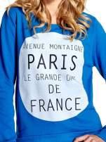 Niebieska klasyczna bluza damska z napisem AVENUE MONTAIGNE                                  zdj.                                  5