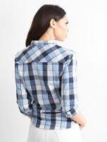Niebieska koszula damska w kratę                                  zdj.                                  2