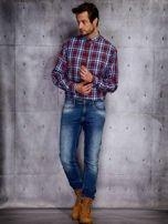 Niebieska koszula męska w czerwoną kratę PLUS SIZE                                  zdj.                                  4