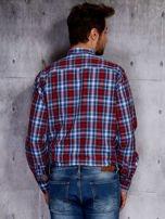 Niebieska koszula męska w czerwoną kratę PLUS SIZE                                  zdj.                                  2