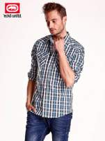 Niebieska koszula męska w kratkę