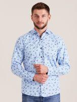 Niebieska koszula męska w roślinne wzory                                  zdj.                                  1