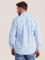 Niebieska koszula męska w roślinne wzory                                  zdj.                                  2