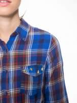 Niebieska koszula w kratę z gwiazdkami przy kieszonkach                                                                          zdj.                                                                         7