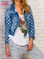 Niebieska kurtka jeansowa z koronką