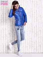 Niebieska pikowana kurtka z futrzanym ociepleniem                                   zdj.                                  6