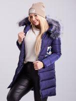 Niebieska pikowana kurtka zimowa PLUS SIZE                                  zdj.                                  3