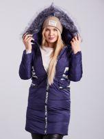 Niebieska pikowana kurtka zimowa PLUS SIZE                                  zdj.                                  6
