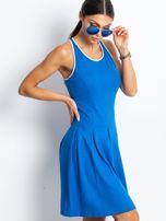 Niebieska rozkloszowana sukienka z dekoltem typu bokserka                                  zdj.                                  7