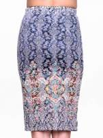 Niebieska spódnica midi w roślinny wzór                                                                          zdj.                                                                         6