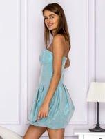 Niebieska sukienka bombka z połyskiem                                  zdj.                                  5