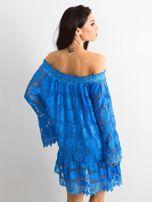 Niebieska sukienka hiszpanka z szerokimi rękawami                                  zdj.                                  2