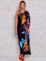 Niebieska sukienka maxi z asymetrycznym dekoltem                                  zdj.                                  4