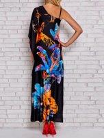 Niebieska sukienka maxi z asymetrycznym dekoltem                                  zdj.                                  2