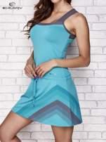 Niebieska sukienka sportowa z szarymi wstawkami                                                                          zdj.                                                                         3