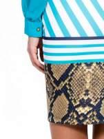 Niebieska sukienka z  wiązaniem przy dekolcie i nadrukiem skóry węża                                  zdj.                                  7