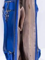 Niebieska torba miejska ze złotą zaiweszką                                  zdj.                                  4