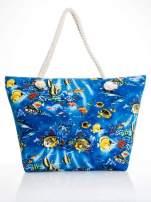 Niebieska torba plażowa z nadrukiem rafy koralowej                                  zdj.                                  4
