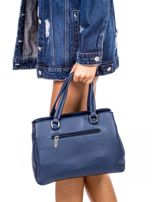 Niebieska trapezowa torebka kuferek do ręki                                  zdj.                                  4