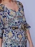 Niebieska wzorzysta tunika ze złotym plecionym paskiem                                                                          zdj.                                                                         5