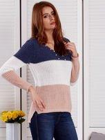 Niebieski-ecru sweter z perełkami                                  zdj.                                  5