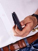 Niebieski męski portfel skórzany z zewnętrzną kieszenią                                  zdj.                                  5