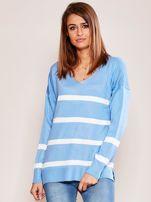 Niebieski sweter damski w pasy                                  zdj.                                  1