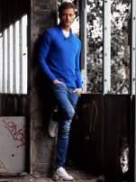 Niebieski sweter męski z kołnierzykiem FUNK N SOUL                                  zdj.                                  6